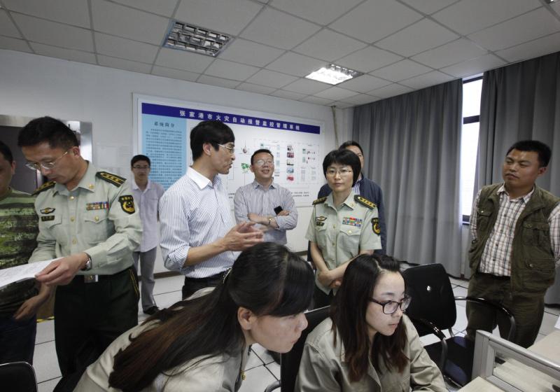 2013.05.16 省消防总队调研组调研火灾监控中心